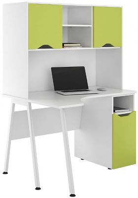 UCLIC Asppire Corner Desk Wth Closed Hut And Cupboard Lime Green
