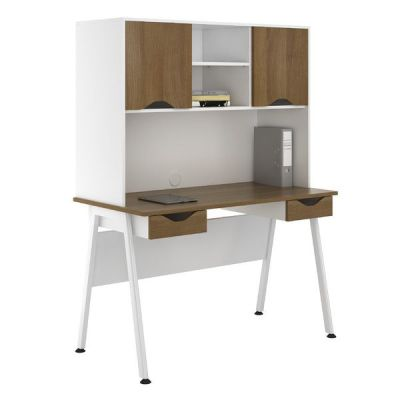 Sylvan Aspire Double Drawer Desk With Overhead Cupboards- Walnut