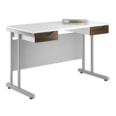 Uclic Create Douvle Drawer Desk With Dark Olive Drawer Fronts