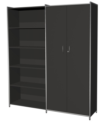 Cupboard And Bookcase Combination In Anthracite