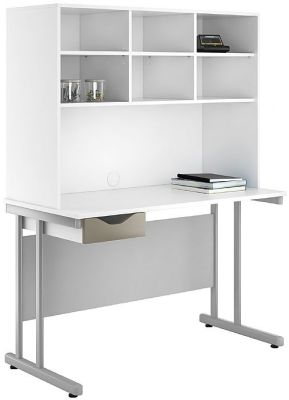 Uclic Create Single Drawer Desk With Overhead Storage And Light Olive Drawer Front