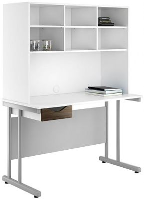 Uclic Create Single Drawer Desk With Single Drawer And Iover Head Storage Wit A Dark Olive Drawer Front