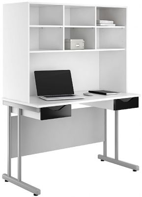 Uclic Double Drawer Desk With High Gloss Black Fronts And Overhead Storage