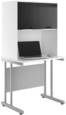 Uclic Create Desk With Overhead Cupboard With High Gloss Black Doors