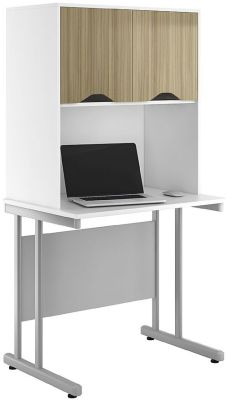 UCLIC Desk With Overhead Storage Supboards And Light Olive Doors
