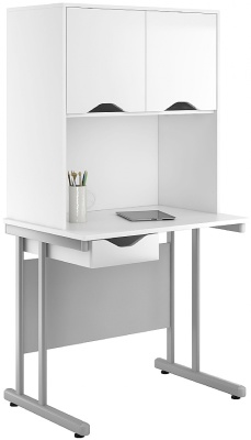 UClic Single Drawer Desk With Gloss White Overhead Cupboards And Drawer Fronts