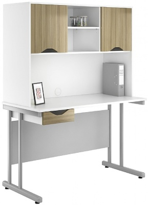 Uclic Single Darwer Desk With Overhead Cupboards And Darwer Front In Light Opive