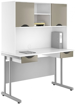 UCLIC Create Two Drawerc Desk And Overhead Cupboard In Light Olive