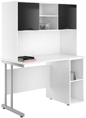 UCLIC Pedestal; Desk With Overhead Cupboard With Black Gloss
