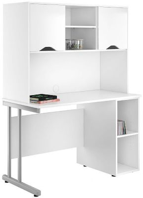 UCLIC Create Pedestal Desk With High Gloss White Doors