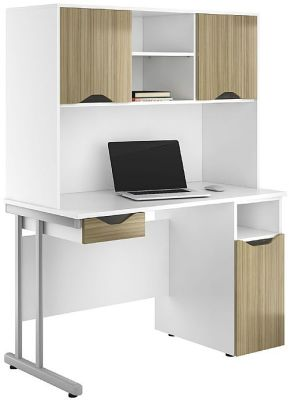 UCLIC Create Desk With Drwer And Cupboard Doors In Light Olive