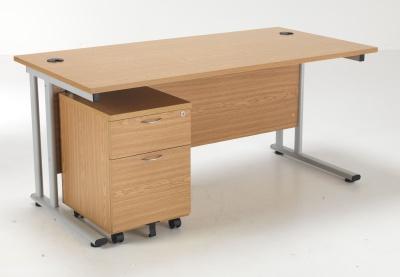 Flite Rectangular Desk And Two Darwer Mobile Pedestal Bundle Deal