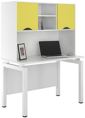 UCLIC Engage Desk With Overhead Cupboard And Peach Yellow Doors