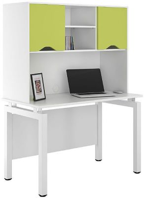 UCLIC Engage Desk With Overhead Storage And Lime Doors