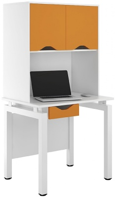 UCLIC Engage Bench Desk With With Drawer And Overhead Cupboard In Orange