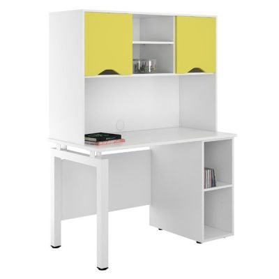 UCLIC Engage Pedestal Desk With Overuhead Cupboars In Peach Yellow