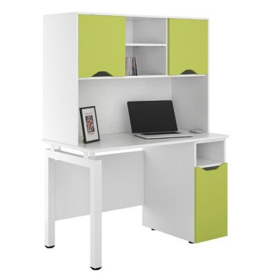 UCLIC Engage Desk With Lime Green Doors And Overhead Storage