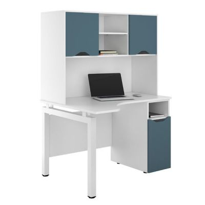 UCLIC Engage Cupboard Desk With Overheadc Stoage And Doors In Steel Blue