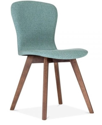Detroit Dining Chair Teal Fabric Front Angle