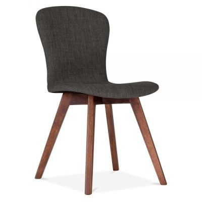 Detroit Chair Dark Grey Fabric Front Angle