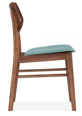 Detroit Dining Chair V2 Teal Fabric Side View