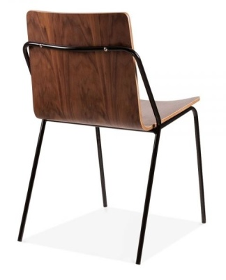 Denver Dining Chair Black Frame And Walnut Shell Rear Angle Shot