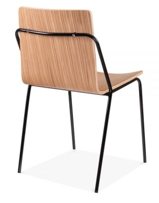 Denver Chair With A Natural Shell And Black Frame Rear Angle Shot