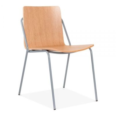 Denver Chair Oak Shell With A Grey Frame Front Angle