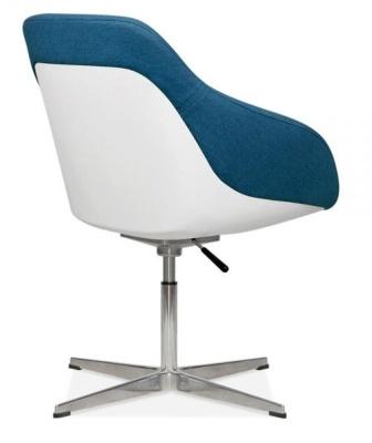 Maxico Lounge Chair Blue Fabric Rear Angle