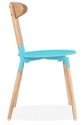 Odense Dining Chair Light Blue Seat Side View