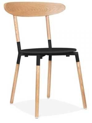 Odense Dining Chair Black Seat Front Angle View
