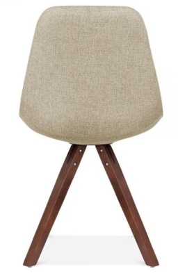 Pyramid Chair Withyb Beige Fabric And Walnut Legs Rear View