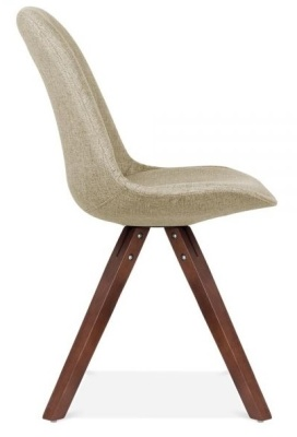 Pyramid Chair In Beige Fabric With Walnut Legs Side View