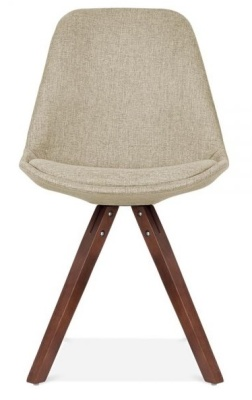 Pyramid Chair In Beige Fabic With Walnut Legs Front View