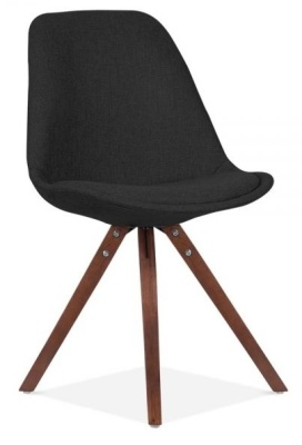 Pytramid Chair In Black Fabric With Walnut Legs Front Angle