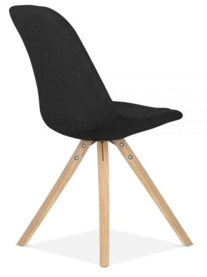Pyramid Chair In Black Fabric With Natural Legs Rear Angle