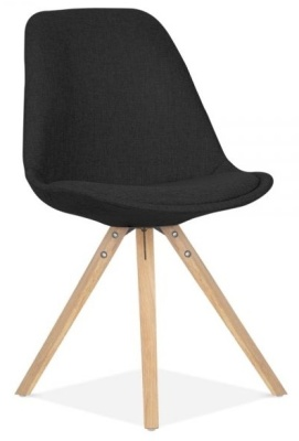 Pyramid Chair In Black Fabric With Natural Finish Legs Front Angle View