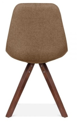 Pyramid Chair In Brown Fabric And Walnut Legs Rear View