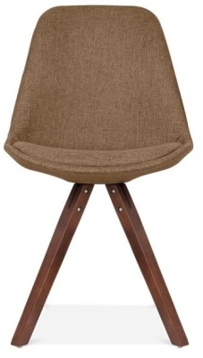 Poyramid Chair With Brown Fabric And Walnut Legs Front Shot