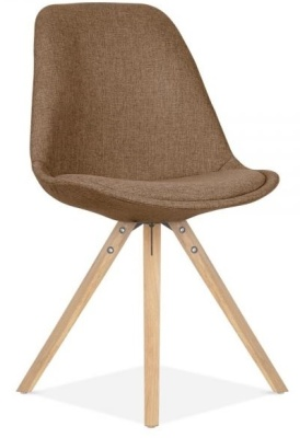 Pyramid Chair Natural Legs And Brown Fabric Front Angle View