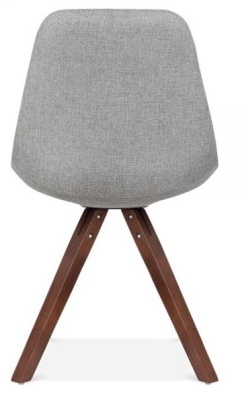 Pyramid Chair With Grey Fabric And Walnut Legs Rear View