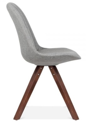 Pyramid Chair With Grey Fabric And Walnut Legs Side View