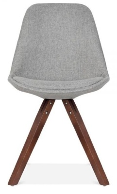 Pyranmid Chair Grey Fabric And Walnut Legs Front View