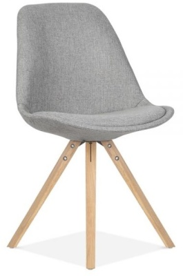 Pyramid Chair Grey Fabric Front Angle Natural Legs