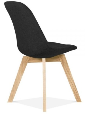 Crosstown Upholstered Dining Chair Reaer Angle Black Fabric