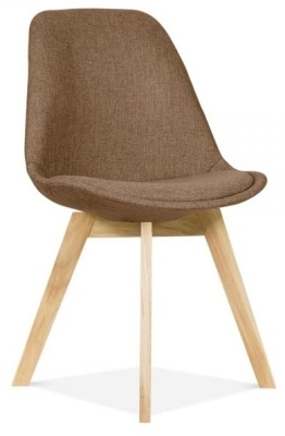 Crosstown Dining Chair Brown Fabric Front Angle