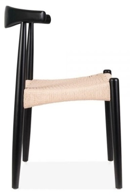 Elbow Chair With A Black Frame And Natural Cord Seat Side View