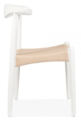 Elbow Chair With A White Frame And A Natural Cord Seat Side View