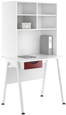 Aspire Reflections Desk With Overhead Storage And A Burgundy Drawer Front