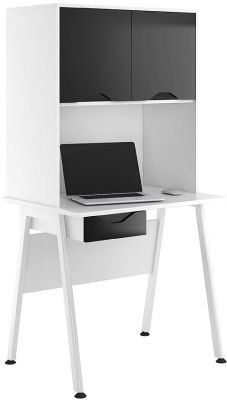 Aspire Reflection Desk And Overhhead Cupboard With High Gloss Black Doors And Darwer Front
